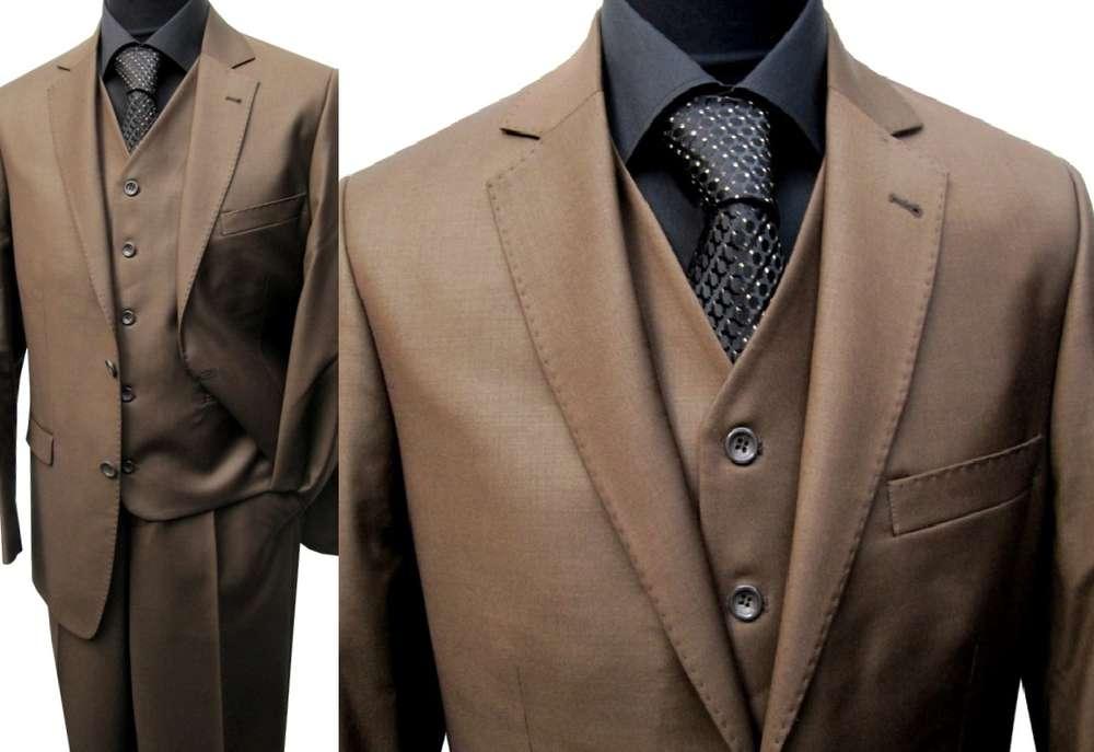 Muga 2 Button Mens Suit Waistcoat Hazel Brown Clothing