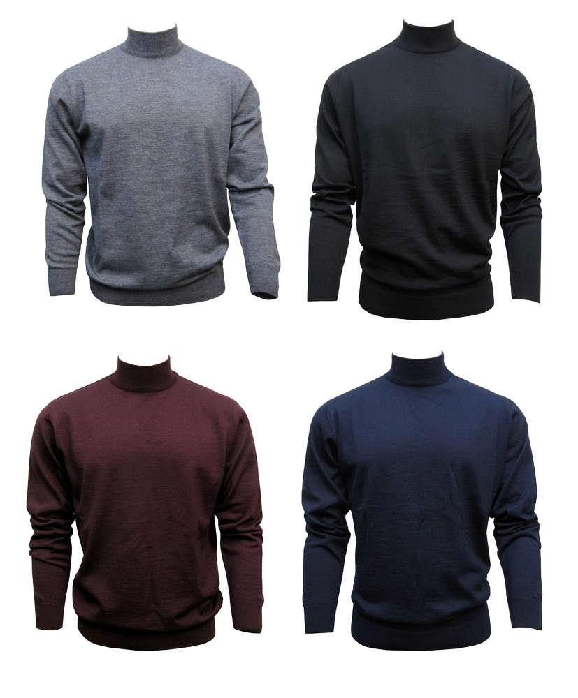 Mode-Design Schönheit attraktiv und langlebig Stehkragen Pullover Herren Schwarz-Marine-Dunkelgrau - Muga